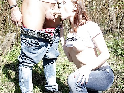 Doll gives oral job in public place