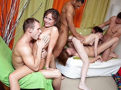 Epic college girl inhale jobs and gang boning