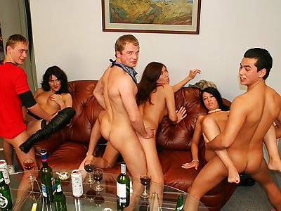 One of the pretty soiree damsels penetrated in douche