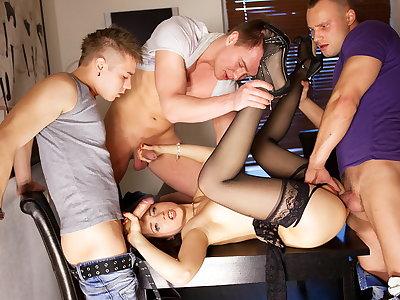 Group sex pornography act for slim Taissia-Shanti
