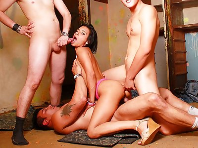 Awesome dark-haired bi-atch in super-fucking-hot Double penetration appointment with trio rods