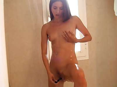 My trampy unexperienced girlfriend plays with a fake penis and my wood